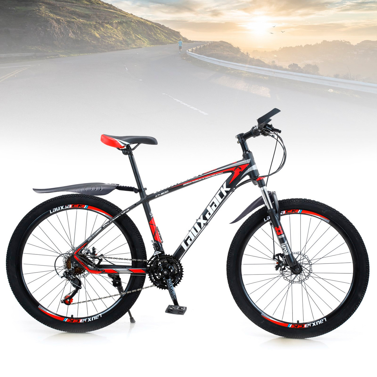 27.5 inches Wheels 21 Speed Unisex Adult Mountain Bike Bicycle MTB Black+Red