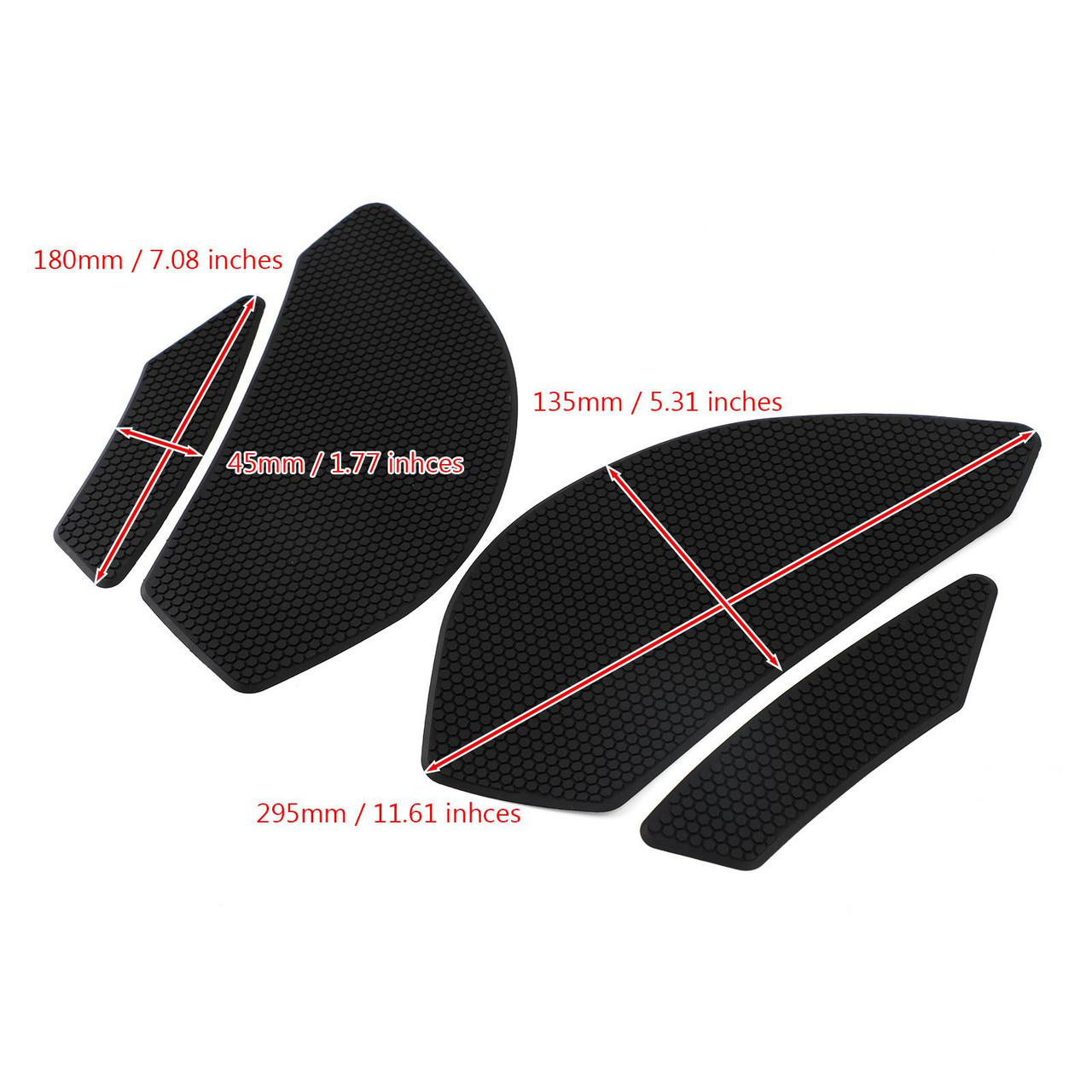 4x Side Tank Traction Grips Pads Fit for Kawasaki ZX6R Ninja ZX600 ZX636 09-19 Black
