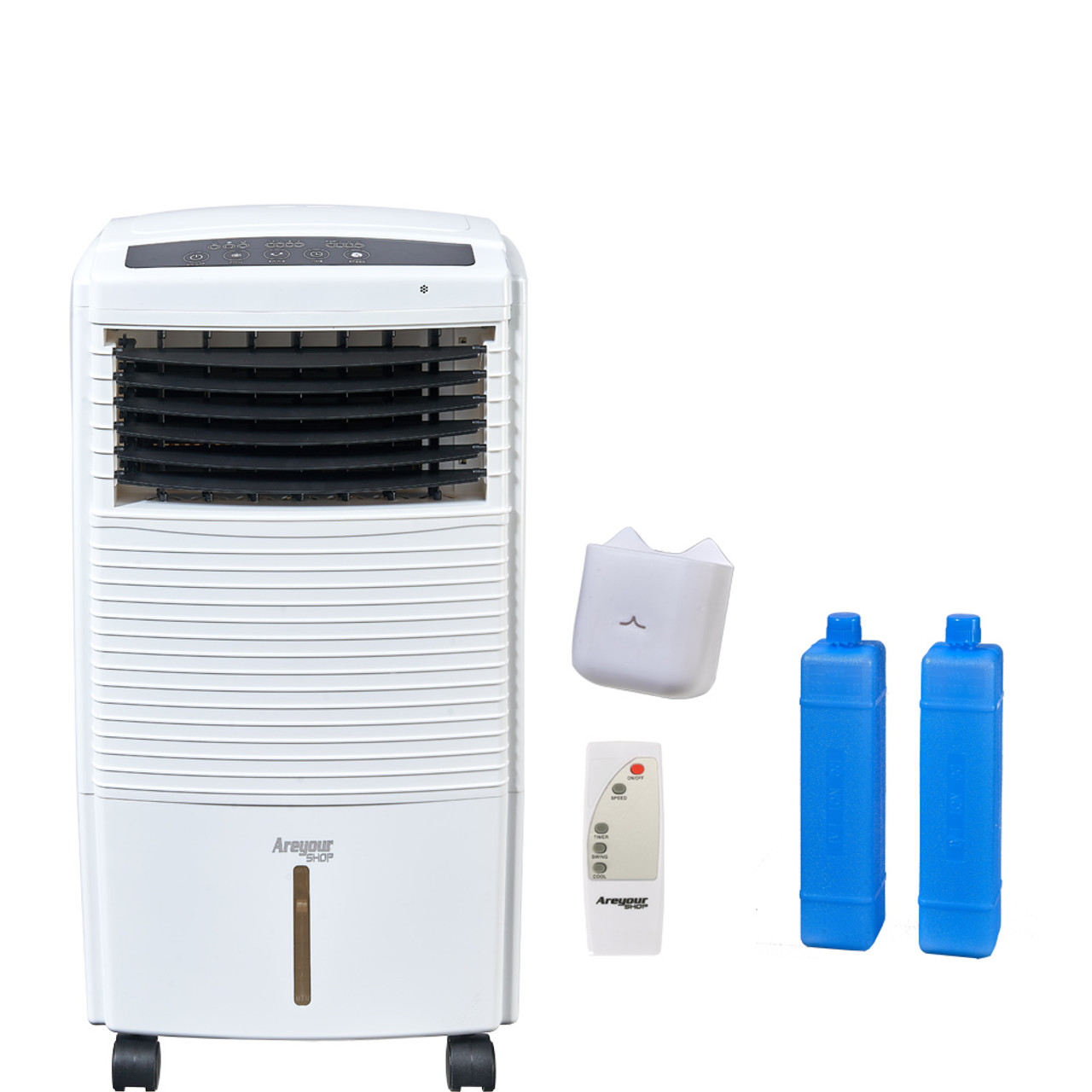 Fan & Humidifier with Ice Compartment & Remote write Indoor Portable Evaporative Cooler With Wheel 470-760 CFM