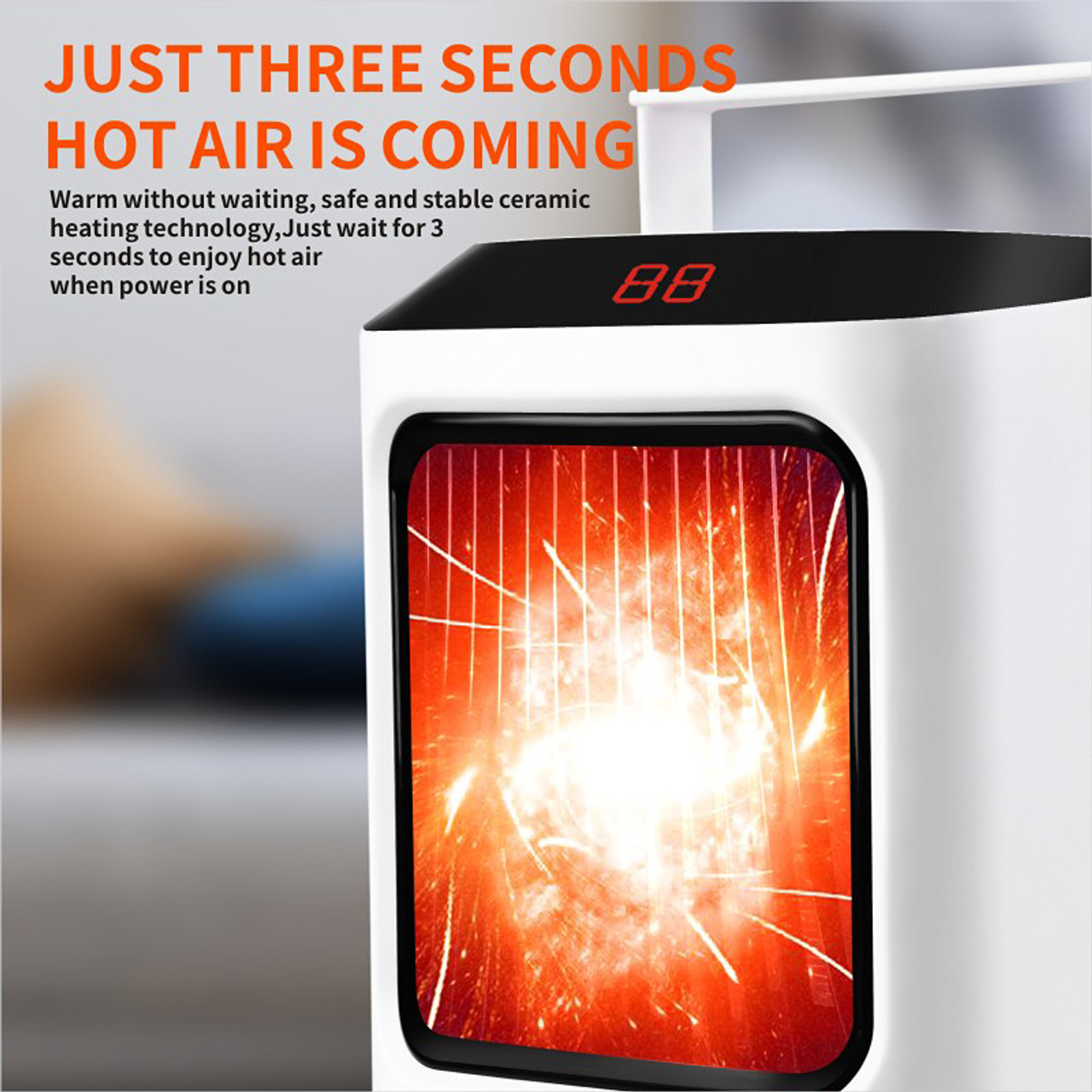 Portable Electric Space Heater Ceramic Heater Adjustable Thermostat and Timer Setting for Bedroom and Office