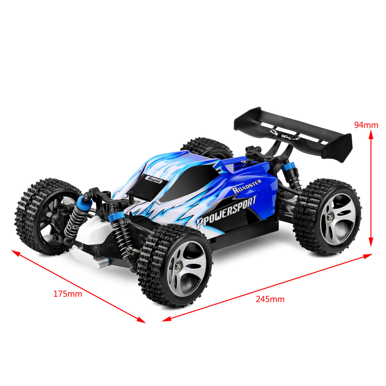 Wltoys A959 1/18 Scale 2.4G 4WD RTR Off-Road Buggy Electric RC Car Blue