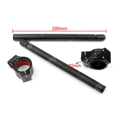 41mm Clip-On Handlebars Universal Motoycycle CBR VTR GSX GSXR SV ZX Mille R6 R1, Black