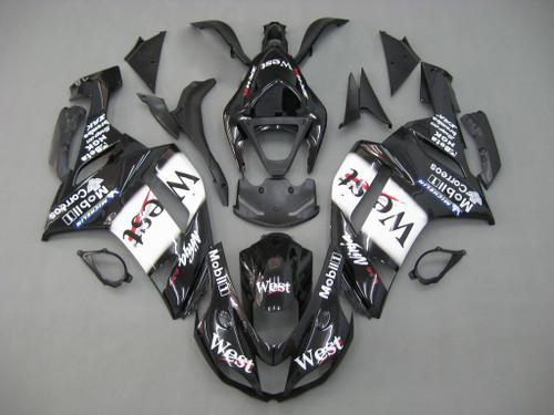 Fairings Kawasaki ZX6R ZX636 Black White West Ninja Racing  (2007-2008)