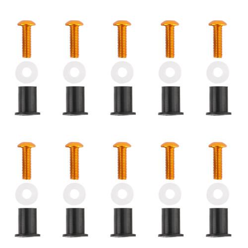 Windshield / Windscreen Bolts Kit Ducati, Honda, Kawasaki, Suzuki, Triumph, Yamaha, (All Year & Model) 10 Pcs. Size: M5, Gold