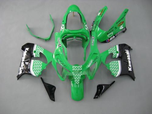Fairings Kawasaki ZX 9R Green Black No.56 Nakano  Racing  (2000-2001)
