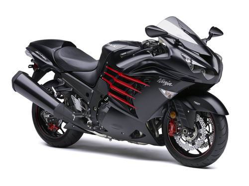 Fairings Plastics Kawasaki ZX14R Ninja Black Red Racing (2012-2016)