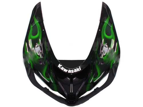 Fairings Kawasaki ZX6R 636 Black & Green Flame Ninja Racing  (2005-2006)