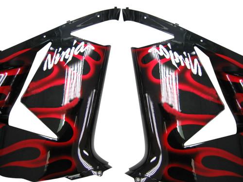 Fairings Kawasaki ZX 10R Black & Red Flame Ninja Racing (2004-2005)
