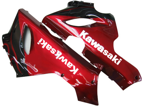 Fairings Kawasaki ZX6R 636 Black & Red Flame Ninja Racing  (2005-2006)