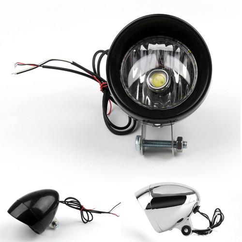 LED Angel Eye Headlight Harley Davidson Dyna Glide Chopper Chrome