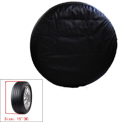 "15"" Spare Wheel Tire PU Leather Storage Bag Cover Heavy Duty Vinyl, Black"