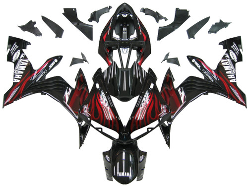 Fairings Yamaha YZF-R1 Black & Red Flame R1 Racing (2004-2006)