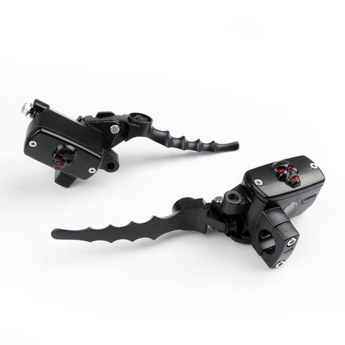 "1"" Universal Motorcycle Skull Hydraulic Brake Master Cylinder Reservoir Clutch Levers, Black"