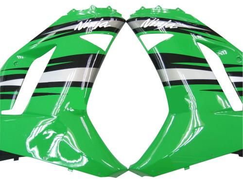 Fairings Kawasaki ZX6R ZX636 Green Black Silver  Ninja ZX6R Racing  (2007-2008)
