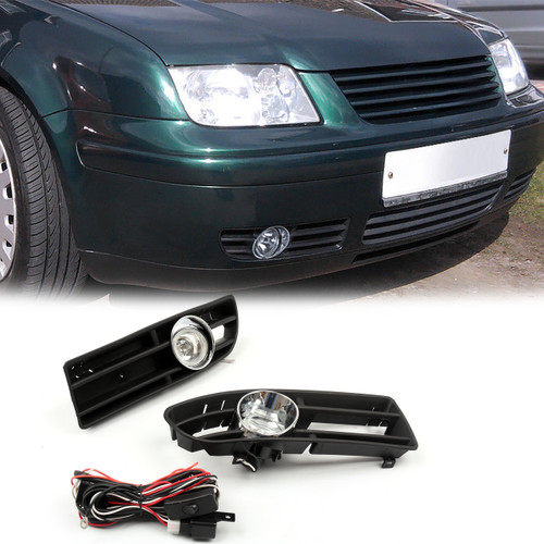 Bumper Grille Grill with Driving Fog Lamp Light VW JETTA BORA MK4 TDI (99-04)