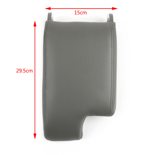Armrest Center Console Lid Cover Leather Synthetic 98-06 BMW E46, Gray