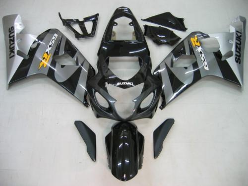 Fairings Suzuki GSXR 600 750 Black & Silver GSXR Racing  (2004-2005)