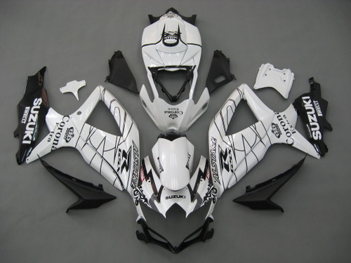 Fairings Suzuki GSXR 600 750  White Alstare Corona Racing  (2008-2009-2010)