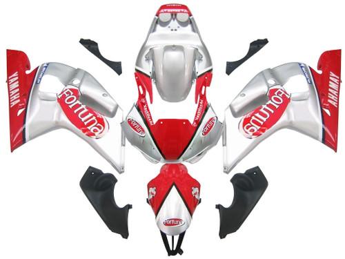 Fairings Yamaha YZF-R6 Silver Red Fortuna R6 Racing (1998-2002)