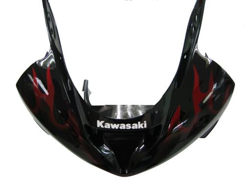 Fairings Kawasaki ZX6R 636 Black & Red Flame ZX6R Racing  (2003-2004)
