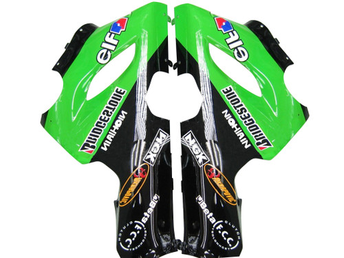 Fairings Kawasaki ZX6R 636 Green Black Kawasaki Racing  (2005-2006)