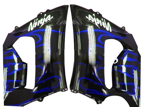 Fairings Kawasaki ZX6R 636 Black & Blue Flame Ninja Racing  (2005-2006)