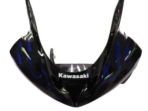 Fairings Kawasaki ZX6R 636 Black & Blue Flame Ninja Racing  (2003-2004)