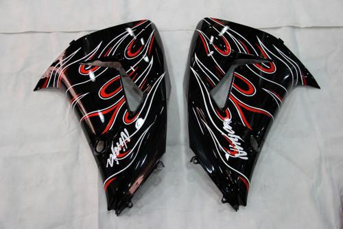 Fairings Kawasaki ZX 10R Black Red Flame Racing (2006-2007)