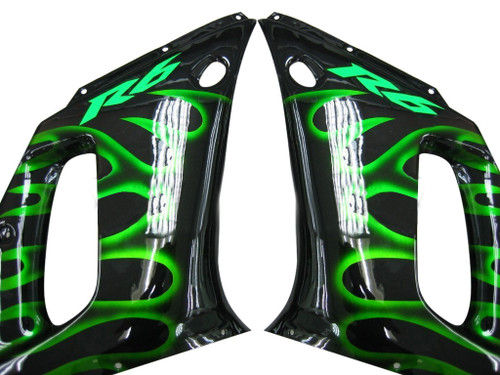 Fairings Yamaha YZF-R6 Black & Green Flame R6 Racing (1998-2002)