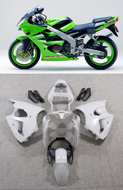 Fairings Plastics Kawasaki ZX6R 636 Green Blue ZX6R Racing (2000-2002)
