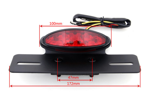 License Plate Mount Oval LED Tail Brake Running Light (Universal Fit) Black / Red Lens