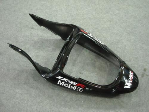 Fairings Plastics Kawasaki ZX6R 636 Black West Racing (2000-2002)