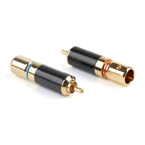 Mad Hornets 2PCS Copper 24K Gold Plated RCA Connector Audiophile Plug Solder