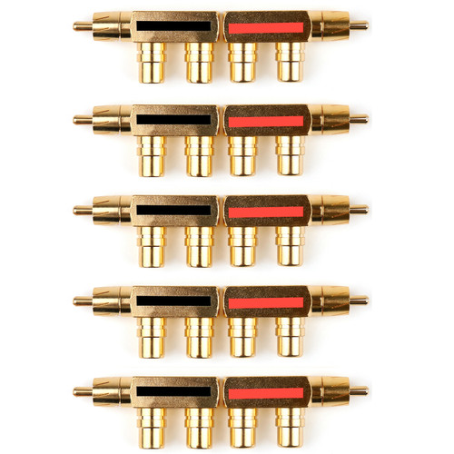 Mad Hornets 10PCS Gold Plated AV Audio Splitter Plug RCA Adapter 1 Male to 2 Female