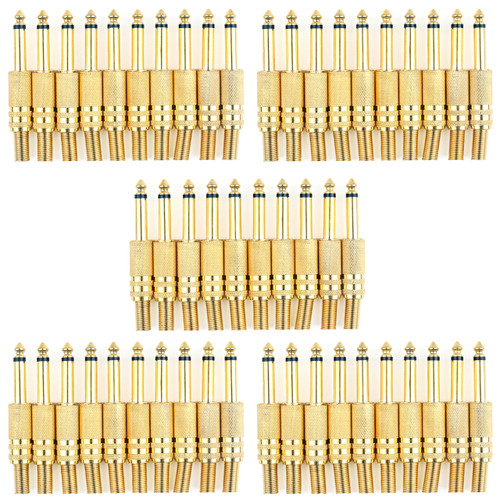 Mad Hornets 50PCS Gold Plated 6.35mm Male 1/4 Mono Plug Audio Connector Soldering