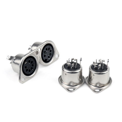 Mad Hornets 4PCS Metal 7 Pin DIN Female Socket Hulled Panel Mount Connectors
