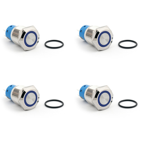 Mad Hornets 4PCS 19mm 12V LED Latching Push Button Switch 1NO1NC Metal Waterproof Ring, Blue