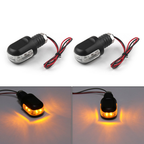 Bar End Turn Signals LED Indicator Amber Handlebar End Mount Blinker (BE-CMD15-Black)