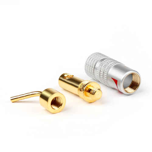 Mad Hornets 4Pairs 2mm Banana Pin Plug Gold Plated Aluminum Shell Audio Speaker Adapter