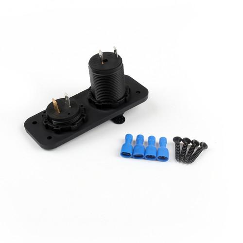 12V Waterproof Cigarette Lighter Motor Car Socket Plug Voltmeter Panel, Black