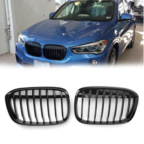 Kidney Grill Grille For BMW F48 F49 X1 (2016+) Matte Black