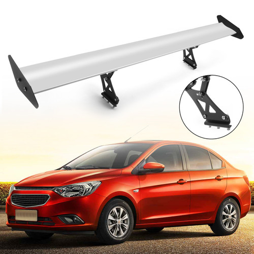 135cm Universal Hatch Adjustable Aluminum GT Rear Trunk Racing Spoiler Wing, Silver