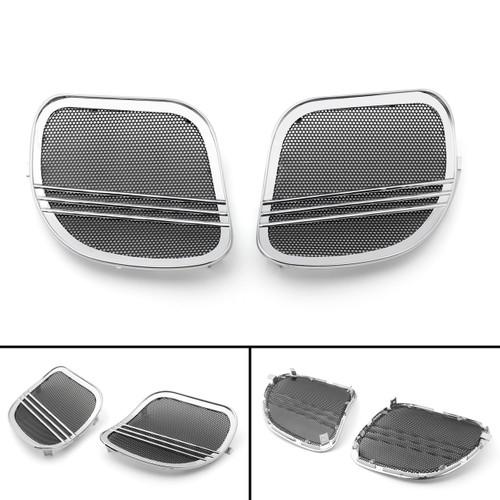 Tri-Line Speaker Cover Grills For Harley Road Glides (2015-2018) Chrome