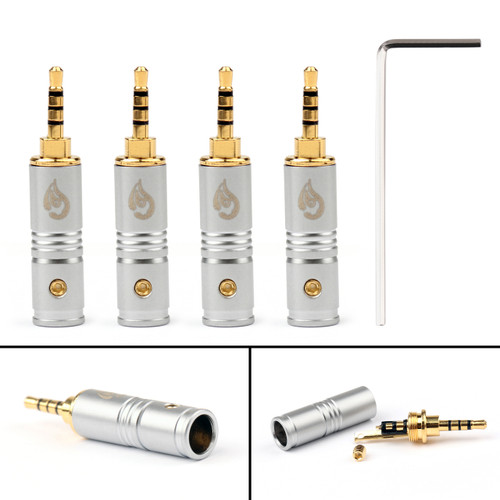 4PCs 2.5mm 4 Pole TRRS Stereo Male Audio Plug Adapter Connector Headphone Silver