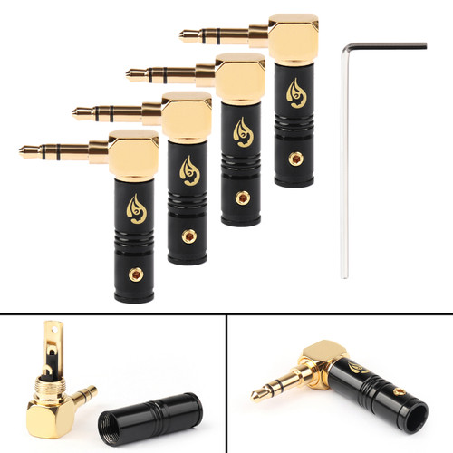 4PCs 3.5mm 3 Pole TRS 90 Stereo Male Audio Plug Connector For Headphone Black