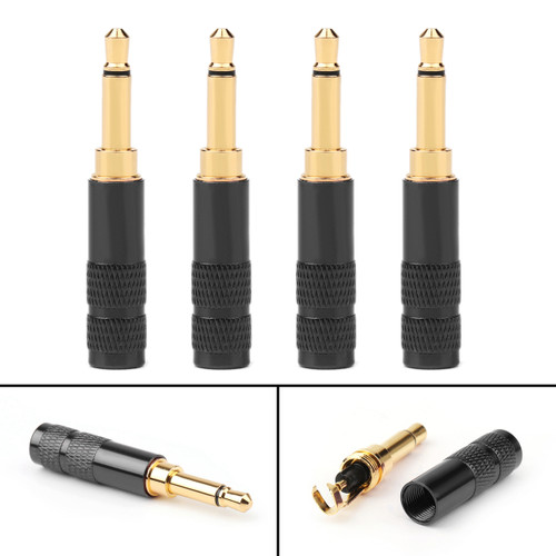 4PCs 3.5mm 2 Pole TS Mono Plug Male MINI Connector For Headphone Adapter, Black