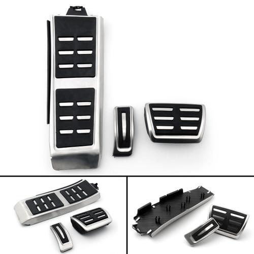Footrest Fuel Brake AT Pedals Plate Cover Set For Audi A4L A6L A5 A7 Q5 LHD Black