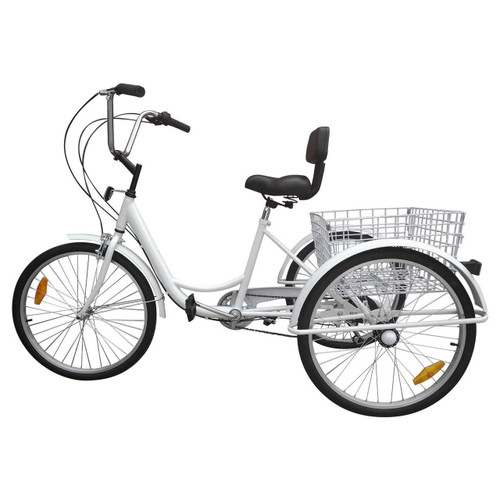 "24"" Tricycle Adult 3-Wheel Trike 7-Speed Bicycle with Basket White"