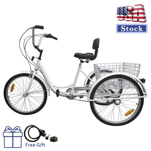 "24"" Tricycle Adult 3-Wheel Trike 7-Speed Bicycle with Basket White (lock + pump )"