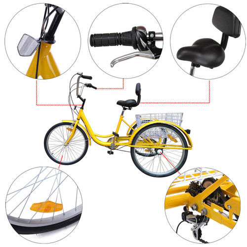 """24"""" Tricycle Adult 3-Wheel Trike 7-Speed Bicycle with Basket Yellow"""